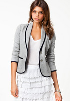 New Women Jackets Autumn And Winter European Fashionable Cotton Short Slim Turn Down Ladies  Cardigan Grey Simple Women Coats