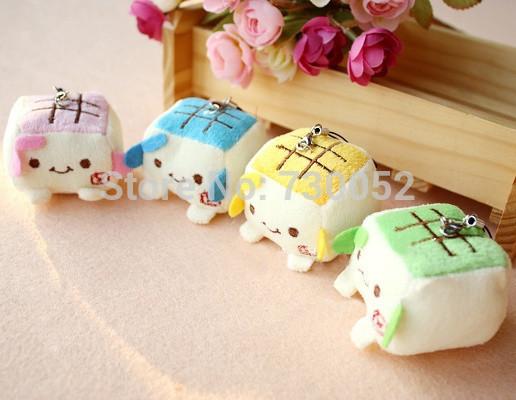 hannari Kawaii Plush Stuffed Tofu Baby Squishy Mobile Pendant Mobile Phone Chain(China (Mainland))