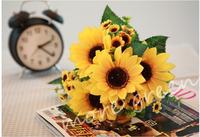Hot selling news  7 flower sunflower / heronsbill artificial flowers / cloth flower / high simulation flower / garden flowers