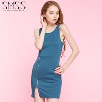 SMSS new European and American tight T-shirt bag hip zipper split step dress