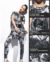 Free shipping new women's summer animal prints Slim T shirt fashion harem pants suit