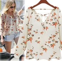 2014 Fashion New Arrival Ladies Pigeon Print Blouse Chiffon Long Sleeve V-neck Shirt Casual Beige  Tops feminina blusa