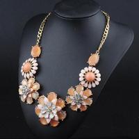 Free shipping!2014 NEW arrived hot sale Fashion high quality resin gem fresh flower necklace bijute bohemianrias
