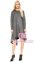 Brief metal color asymmetrical loose women one-piece dress / Fashion long-sleeves o-neck zipper grey women dress XS-XXL