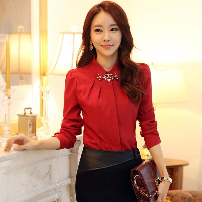 Korean Long Sleeves Blouse Long Sleeve Blouses With
