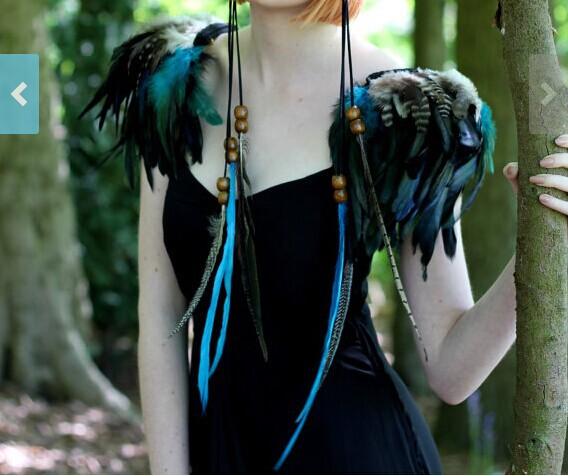Free shipping, handmade feather shoulder epaulette #FSP14006(China (Mainland))