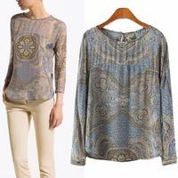 2014 New Women Blouse Chiffon Shirt  Print Pattern Tops T-Shirt Full Sleeve Casual Clothing Brand Summer Lady Wear CL1993