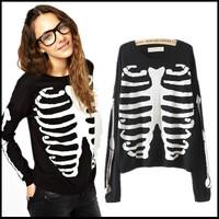 2014 Winter New  Skeleton Pattern Black Jumper Sweater Knitted Top