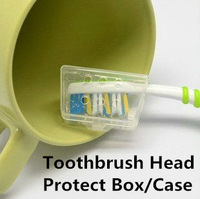 Wholesale free shipping Transparent  PP 4.2*1.8*2.3CM toothbrush head protecttion case/box/covers/caps/holder for travel/camping