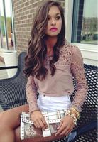 Blusas Renda Camisa Chiffon De Women's Tops Womens Blouse Das Mulheres Femininas 2014 Long Shirts Lace Vestido Blusa OM002(1)