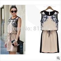2014 New Women Summer Casual dress High quality Fashion clothing Woman Chiffon Pinched Waist Women dress Printed