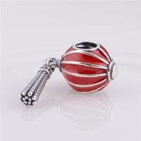 LW335 Chinese Lantern Red Enamel 925 Sterling Silver Charm 1:1 Original Screw Thread Bead Compatible With Fine Pandora Bracelet
