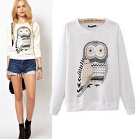 New 2014 High Quality Autumn Fashion Women Clothing Cute Owl Animal Print Sweatshirt Beading Hoodies  white clothes E1