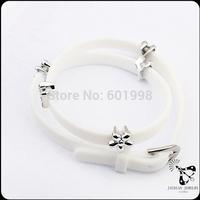 Euopean style metal flower design wholesale silicone bracelet