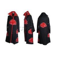 HOT Anime NARUTO Cosplay Costume Akatsuki Ninja Wind Coat Uniform Cloak Halloween---(S/M/L/XL/XXL Size) HOODED