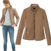 lends2014 European Style Brand Famous Slim Woolen Jacket Coat  Full Sleeve Cotton Spring Fall Winter Women Lady Outwear CL1995