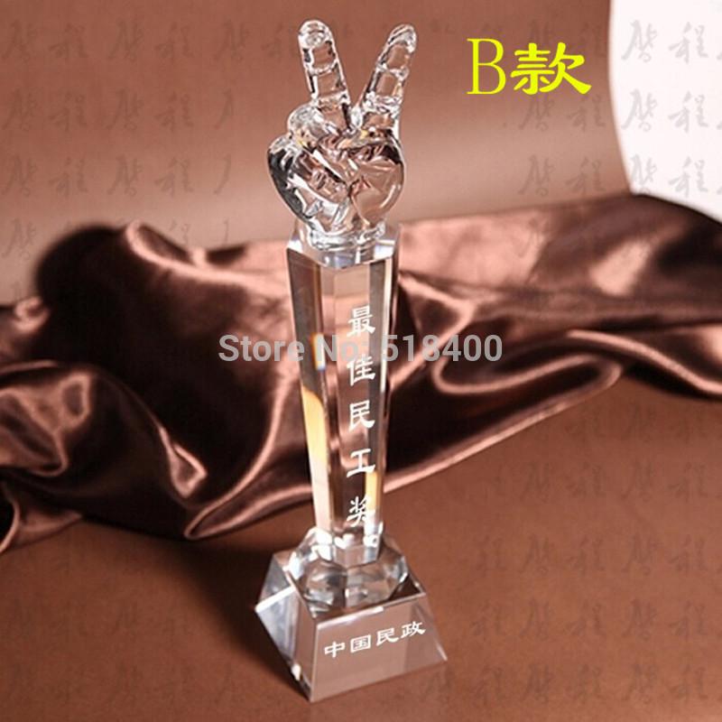 High quality new design hot selling stock crystal corporate award crystal victory award(China (Mainland))
