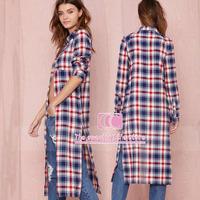Extended Split loose women casual shirts / British style Fashion vintage cotton plaids long-sleeve women outwear XS-XXL