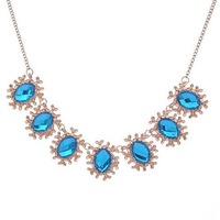 CMN016 Luxurious And Generous Colorful Crystal Gem Stone Women Party Short Collar Necklace