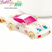 High Quality Promotion Resin Car Keychain Fashion Rhinestone Trinkets Metal Key Chain For Women Bag Phone Charms Pendant Jewelry