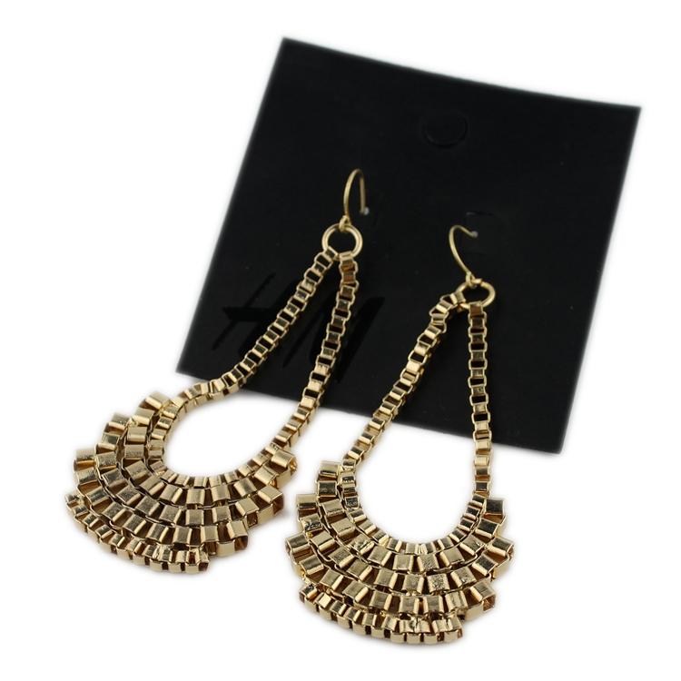 Estilo encantador bonito dourado brilhante tom da moda brincos pendurados recém-chegados shiping livre(China (Mainland))
