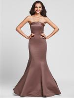 Customised Plus Size Mermaid Strapless Floor-length Satin Bridesmaid Dress WD0041