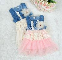 2014 summer dress fashion new baby kids girls ball gown dress lace+cotton material vestidos de menina 2 colors