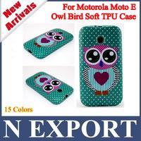 1PC Hot Selling Owl Bird Flower National Flag Zebra Stripe Soft TPU Cover Case For Motorola Moto E XT1021 XT1022 XT1025 [MT-08]