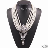 2015 new latest model fashion multi pearl bead chain chunky statement choker necklaces pendants for women elegant jewelry