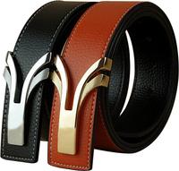 Man Genuine leather belt Cowskin belt Slide buckle Brand designer Solid Adjustable Cintos Cinturon 12 colors M236 New arrival