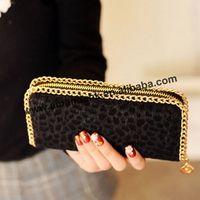 100pcs/Lot Free Shipping Hot European And American Queen Style Leopard Horse hair Wallet Leopard purse Clutch Women's Wallet