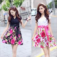 Freeshipping 2014 New Women's V-neck Fashion Print One-piece Dress Summer Dress