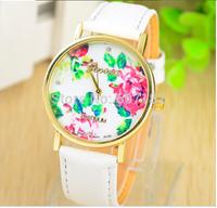 2014 New Fashion GENEVA Rose Flower Watches Women Dress Watch stylish women casual watch Quartz Watches orologio da polso