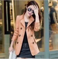 XXXXL New 2014 Women's Fashion Casual Double Breasted Slim Short Coat Women Coat  Plus Size Trench Coat For Women AS1468