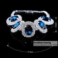 New SeenDom European Shining Large Rhinestone Pulseira Blue Crystal Bracelet Women Dress Jewelry SCB002