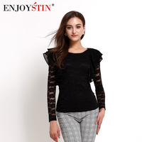 2014 autumn women's slim all-match lace long-sleeve top pure colorant match embroidered basic shirt female