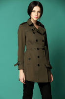 Hot Women Fashion British Long Double Breasted buckle Trench Coat Elegant Outerwear Classic High Quality Slim Fit Trench