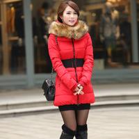 2014 winter women fashion down jacket feather dress,warm female Cotton padded clothes latest fur Hat  jacket slim girls coatXXXL