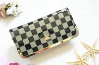 Free Shipping High Quality Women Grid Plain Fashion PU Wallet