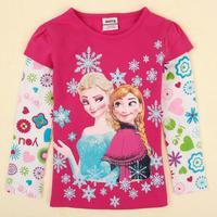 Nova brand clothing printed cartoon snowman spring autumn causal long cotton T-shirt for baby girls F5100Y#