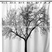 Black big tree fashion terylene shower curtain bathroom shower curtain waterproof