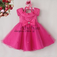 Newest Girl Polyester Dress Hot Pink Kids 3D Flower Organza Dresses Infant Party Dress Children Clothes Free Shipping GD40814-28