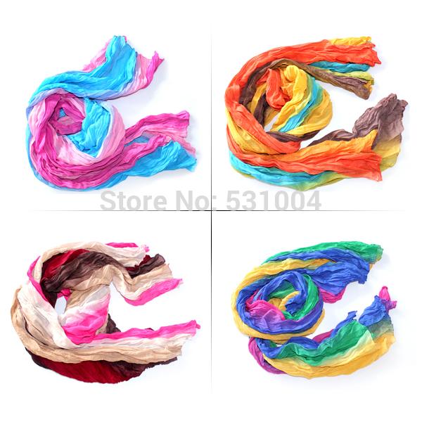 Fashion women's cotton & chiffon pachwork rainbow scarf supplier, fashion scarf 16colors in stock , 4pcs/lot free shipping(China (Mainland))