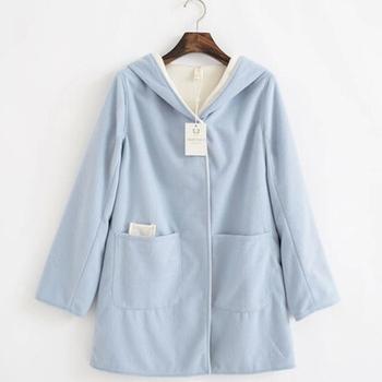 мода женщин пальто шерстяное 2014 новое в элегантный корейский стиль с длинным рукавах карманы свободные украшения женский плюс размер с капюшоном пальто