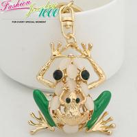 Creative Unique Enamel Double Frog Keychain keyring Fashion Rhinestone Metal Key Chain For Women Purse Charms Pendant Jewelry