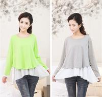 Autumn Fashion Cotton Modal Patchwork Maternity Clothing Breastfeeding Long-sleeved Nursing Blouse