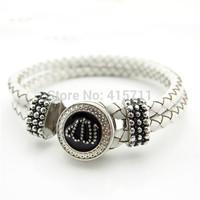 YH-AB02 Islamic Jewelry White Leather Bracelet, Rhinestone Allah Muslim Islam Bracelet