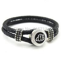 AB-001 Black Leather Bracelet, Rhinestone Allah Muslim Islam Bracelet