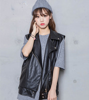 2014 new autumn and winter fashion sleeveless PU leather motorcycle leather jacket vest vest sleeveless vest loose BF wind