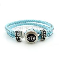 YH-AB05  Islamic Jewelry Blue Leather Bracelet, Rhinestone Allah Muslim Islam Bracelet